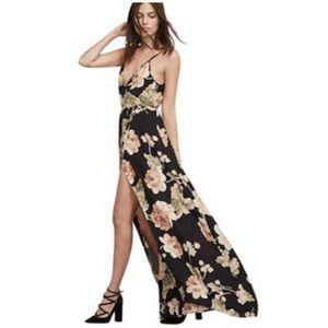 Reformation Floral wrap deep v back dress